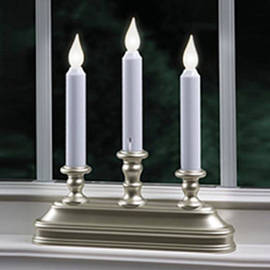 Warm White LED Battery Powered Candelabra Window Candle