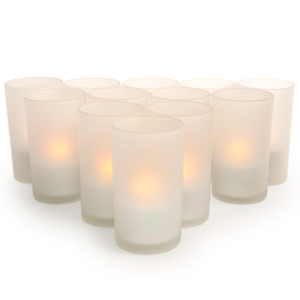 Rechargeable Amber Tea Lights, Set of 12