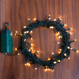 Warm White 64 LED Battery String Lights with Timer