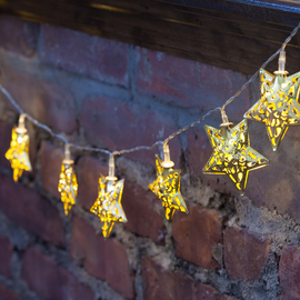 Moroccan Star Battery Operated String Lights, Brass