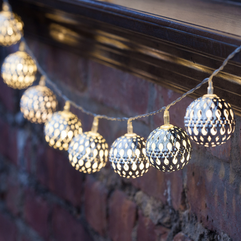 Lights.com String Lights Decorative String Lights Moroccan Bauble Battery Operated String ...