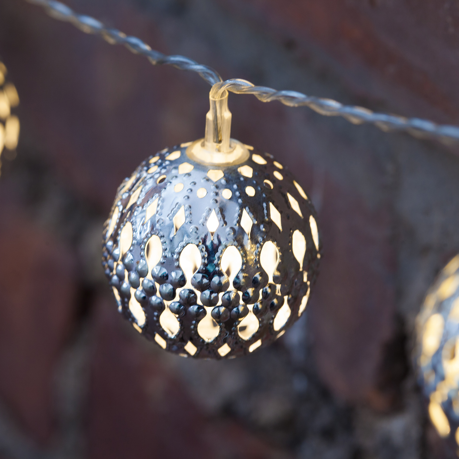 Metal Globe String Lights : Lights.com String Lights Battery String Lights Moroccan Bauble Battery Operated String ...