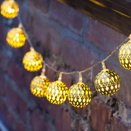 Gold Moroccan Bauble Battery Operated String Lights