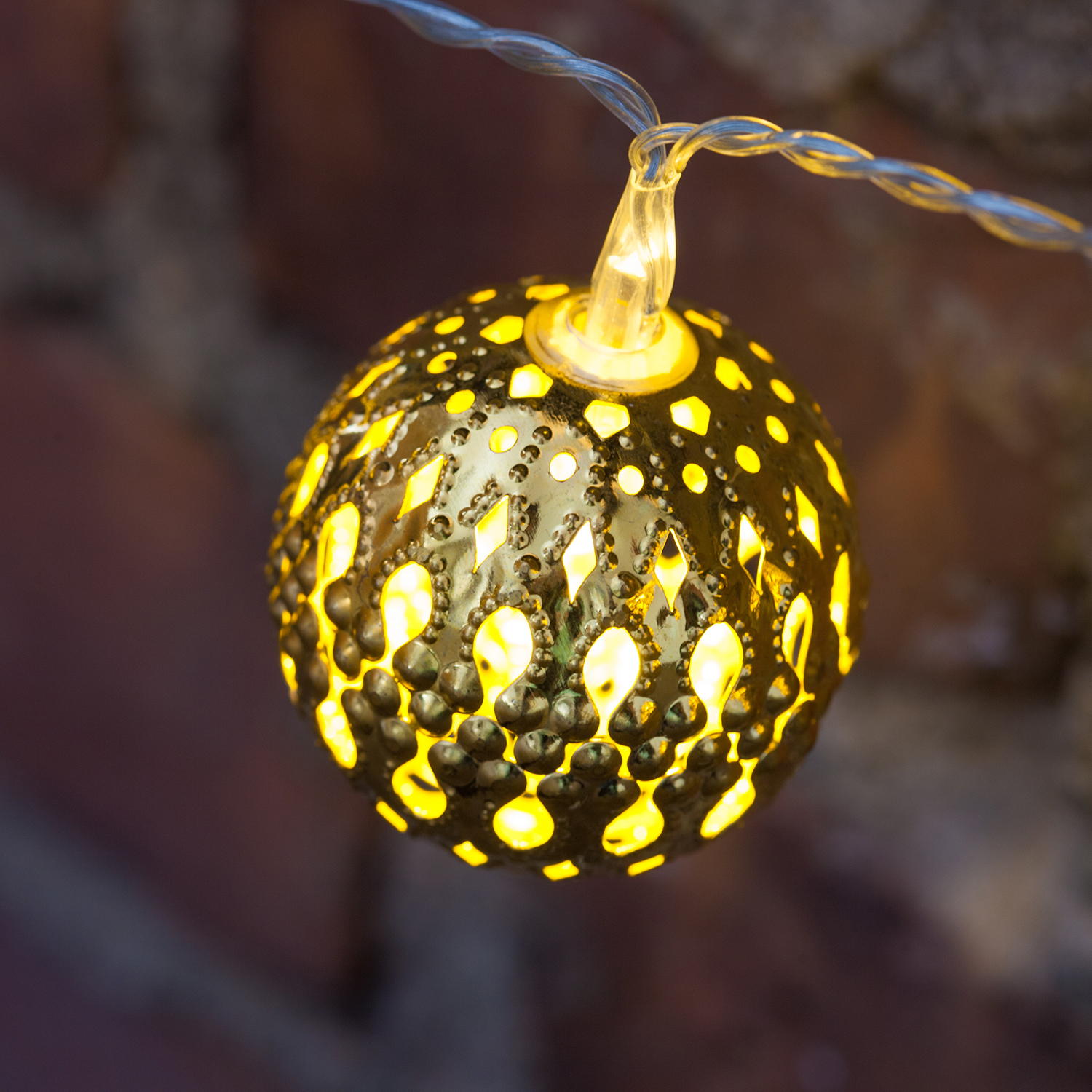 Lights.com Lit Decor String Lights Decorative Gold Moroccan Bauble Battery Operated ...