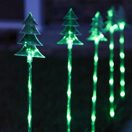 Green Tree Garden Stake Lights with Automatic Timer, Set of 5
