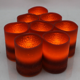 Distressed Burgundy Battery Operated Votive, Set of 12