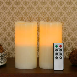 Ivory Wax Flameless Candles with Remote - Set of 2