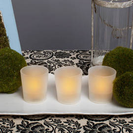Amber Flameless Party Votive, Set of 3