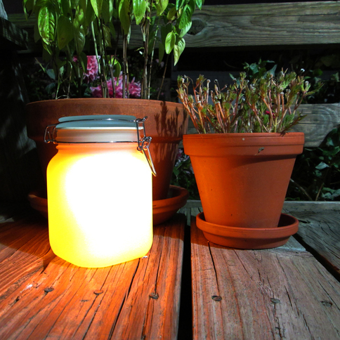 Solar Mason Jar with Amber and Color Change Option