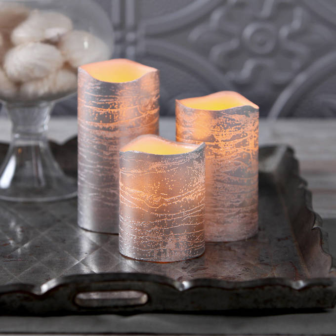 Silver Metallic Wax Flameless Candle with Timer and Remote, Set of 3