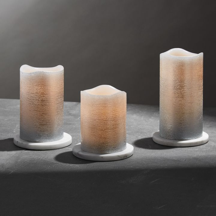 Silver Distressed Melted-Edge Flameless Pillar Candles, Set of 3