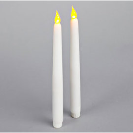 """Snow White 11"""" Smooth Taper Candles, Set of 2"""