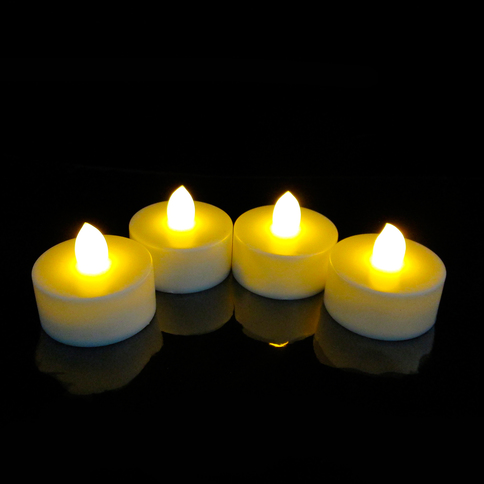 Flickering Light Battery Tea Lights with Timer, Set of 4