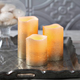 Gold Metallic Wax Flameless Candle with Timer and Remote, Set of 3