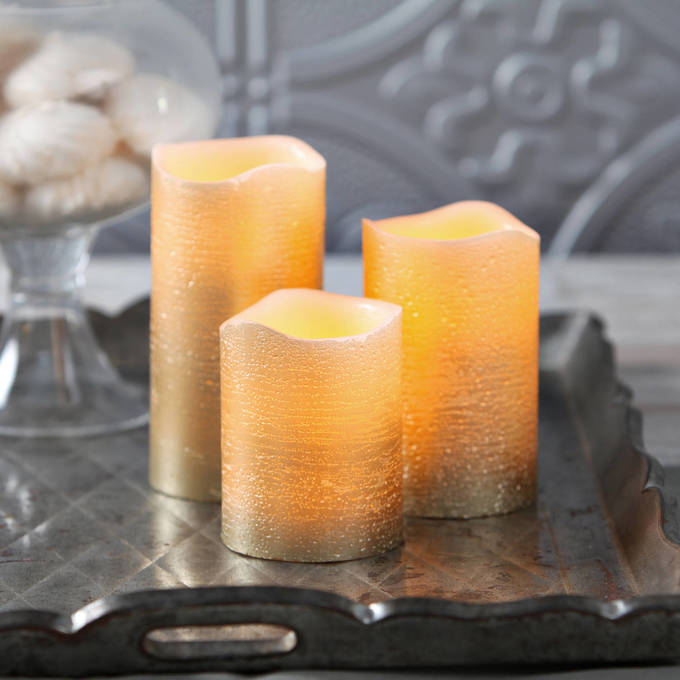 Set of 3 Gold Flameless Pillar Candles