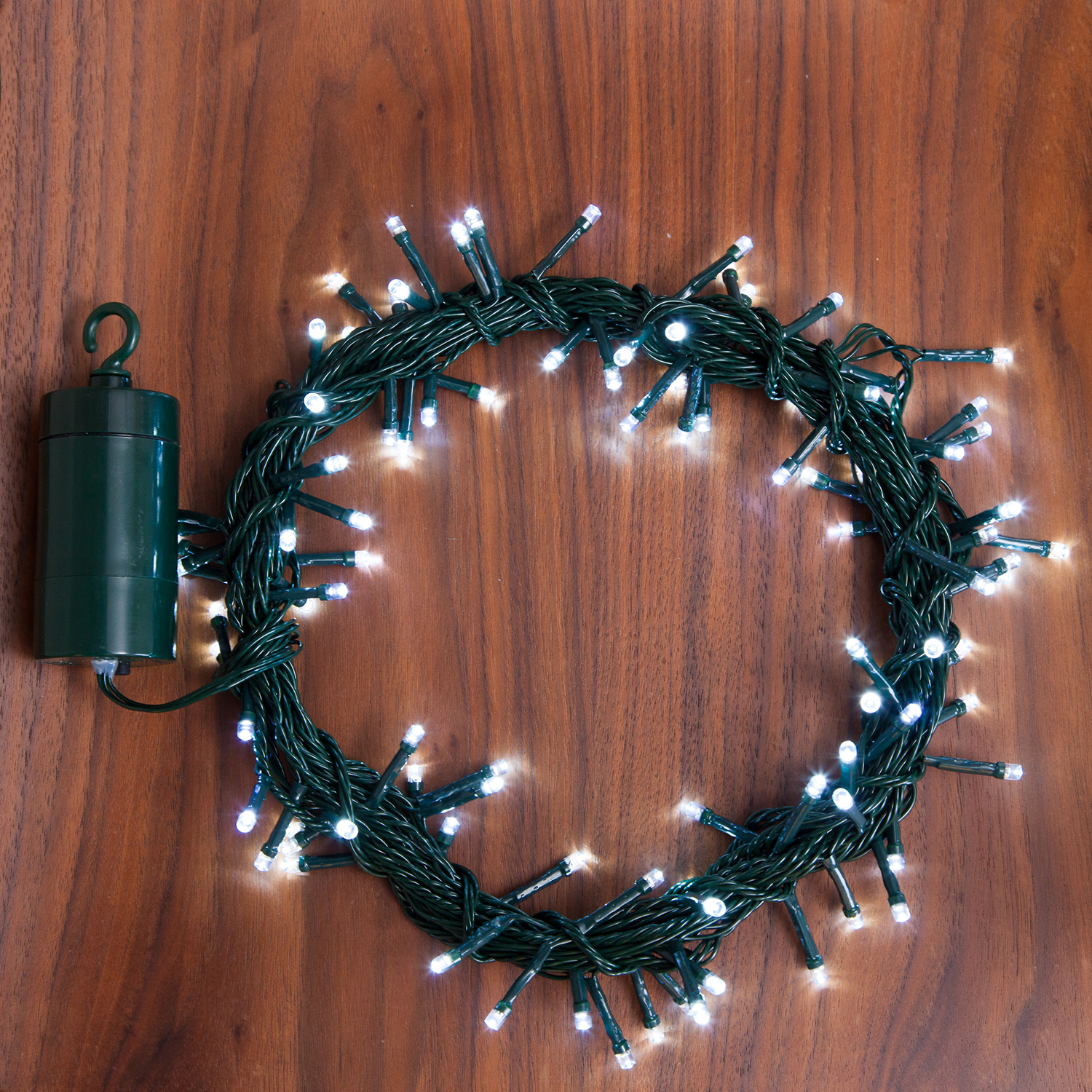 Lights.com String Lights Christmas Lights Cool White 100 LED Battery String Lights with Timer