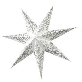 White / Silver Tender Handmade Paper Star Lamp with Plug-in Cord