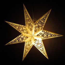 White / Gold Tender Handmade Paper Star Lamp with Plug-in Cord