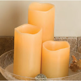 "3"" x 8"" Wavy Edge Smooth Wax Battery Candle With Timer by Everlast"