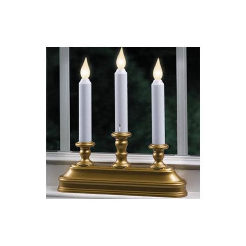 brass warm white led battery powered candelabra window candle. Black Bedroom Furniture Sets. Home Design Ideas