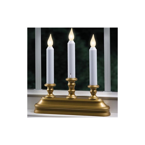 Aged Bronze Warm White LED Battery Powered Candelabra Window Candle