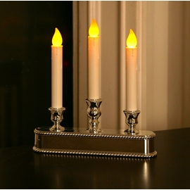 Silver Triple LED Battery Powered Window Candelabra with Auto Sensor