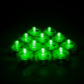 Green Submersible LED Set of 12 Flower Tea Lights