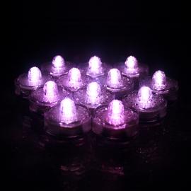 Pink Submersible LED Set of 12 Flower Tea Lights