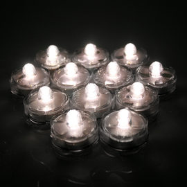 Warm White Submersible LED Set of 12 Flower Tea Lights