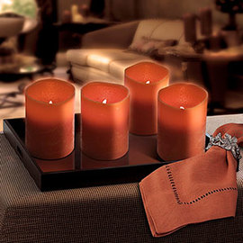"Burnt Orange Distressed 6"" Flameless Candle with Timer, Set of 4"