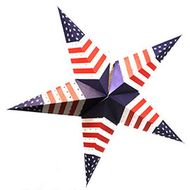 Patriot Series Paper Star Lantern with Plug-in Cord, Solid Blue Center