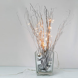 "Electric Silver 20"" Willow Lighted Branch"