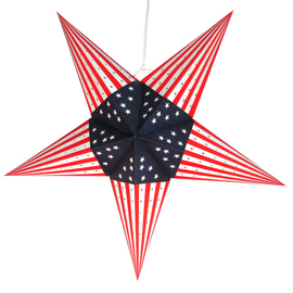 Patriot Series Paper Star Lantern with Plug-in Cord, Striped Points