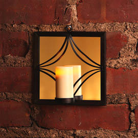 Square Bronze Mirror Sconce with Votive and Timer