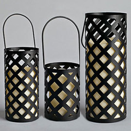Criss Cross Metal Lantern with Flameless Candle