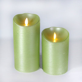Metallic Lime Moving Wick Flameless Candle Remote Ready