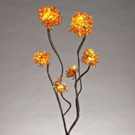 """Amber 31"""" Hydrangea Lighted Branch with Timer"""
