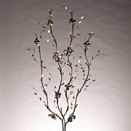 """Smoked Gray 39"""" Mirrored Back Lighted Branch with Timer"""