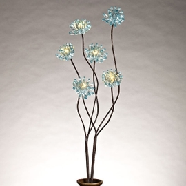 """Turquoise Acrylic 31"""" Chrysanthemum Lighted Branch with Timer"""