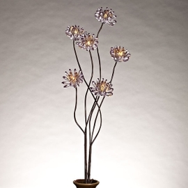 "Smoked Gray Acrylic 31"" Chrysanthemum Lighted Branch"