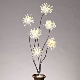 "Clear Acrylic 31"" Chrysanthemum Lighted Branch with Timer"