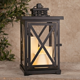 Cross Bar Solar Flameless Candle Lantern, Large - 3 Candles