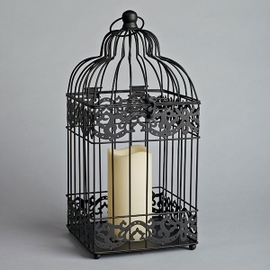 Birdcage Square Lantern with Flameless Candle, Black