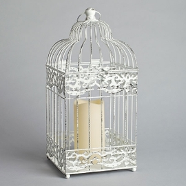 Birdcage Square Lantern with Flameless Candle, Antique White