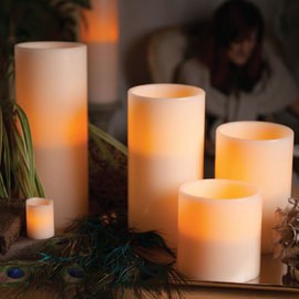 Grand Wax Bisque 3-Wick Flameless Candle