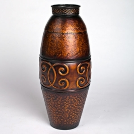 Copper Scroll Vase with Antique Finish