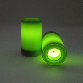 Jungle Green Outdoor Flameless Candles with Timer, Set of 2