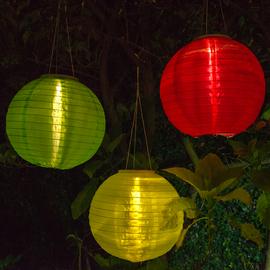 "Tropic 12"" Solar Lanterns, Set of 3"