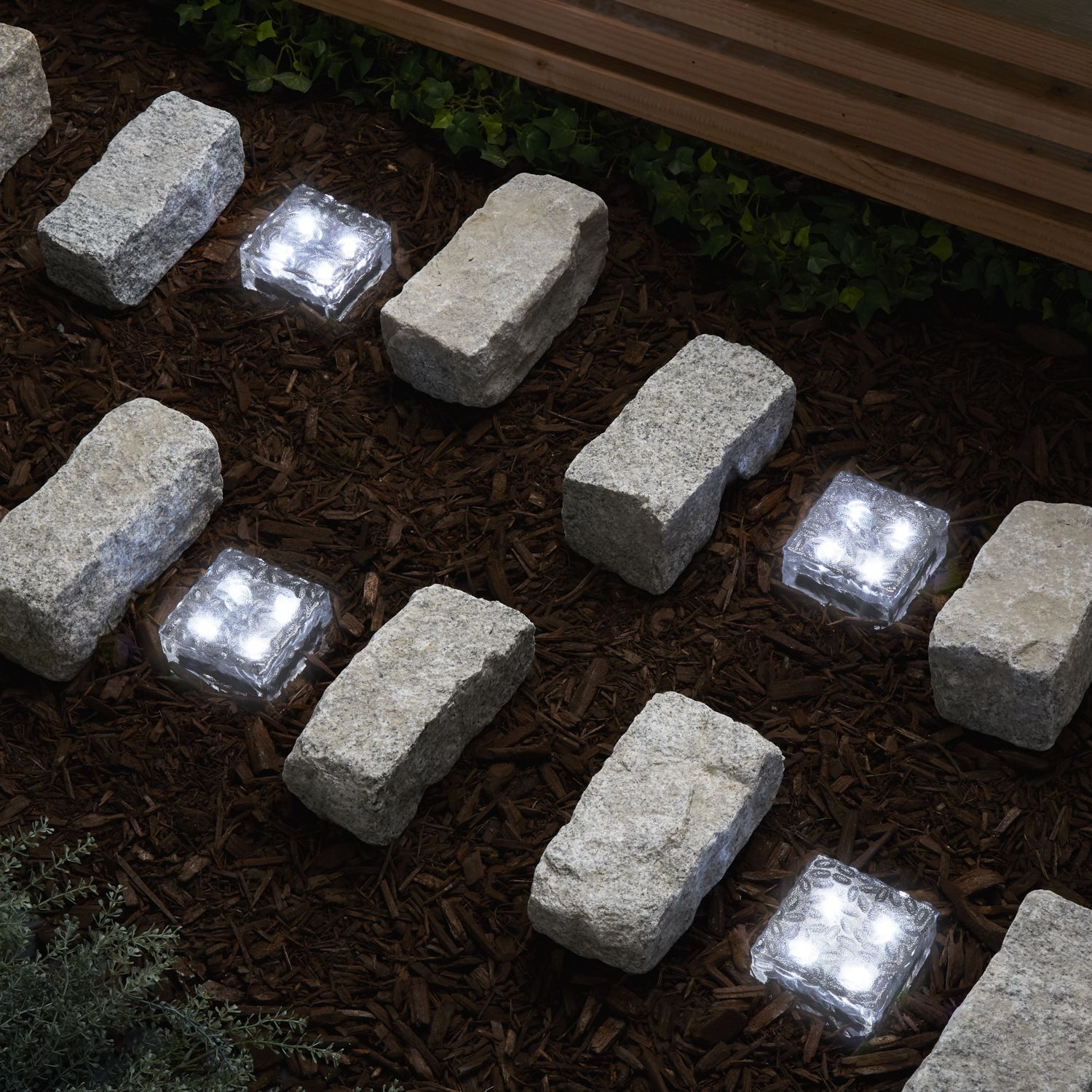 Lights.com Solar Solar Landscape Frosted Glass Solar Brick Path Light, Cool White