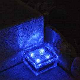 Frosted Glass Solar Brick Path Light, Cool Blue